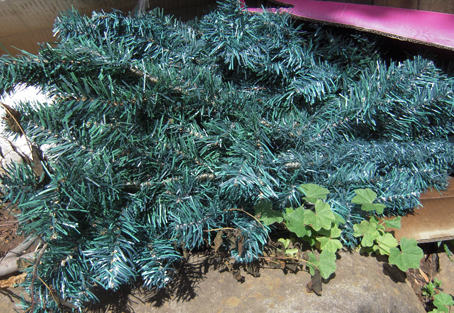A dead fake Xmas tree