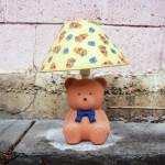 A dead teddy bear lamp