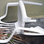 A dead stacking chair